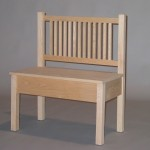 3023-31 Oak Mission Armless Shallow Storage Bench Unfinished