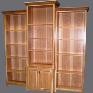 Hickory Shaker Bookcase Wall unit with Modified Crown Molding Clear Coat Only Finish 61-9096-16