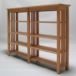 Custom Oak Mission slat bookshelf with adj shelves 68W x 14D x 48H Unfinished