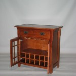 Modified - Maple Mission Cabinet Wine rack & glass rack inside behind doors - no shelf Special Walnut Finish #20602