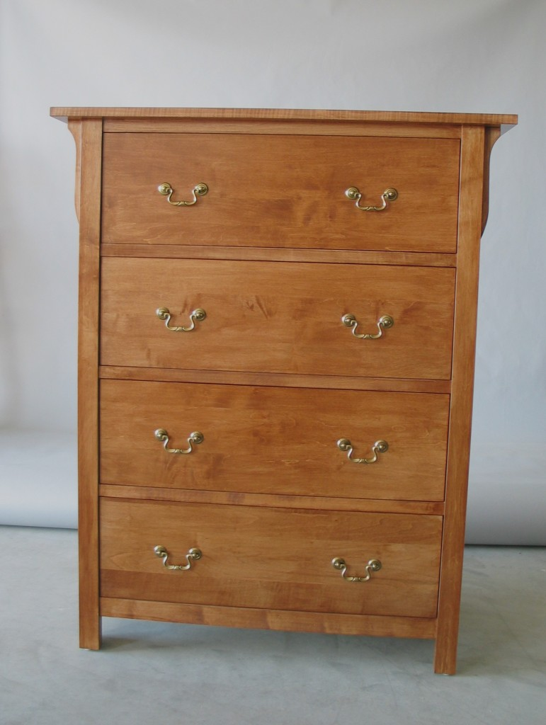 20204 Maple Mission 4 Deep Drawer Chest - Provincial Stain - brass handles