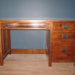 20416-KR Maple Mission Single Pedestal Desk Right Stack Pull Out Tray - Special Walnut Stain