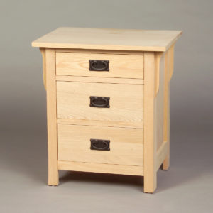 Oak Mission 3 drawer nightstand - Unfinished #30202