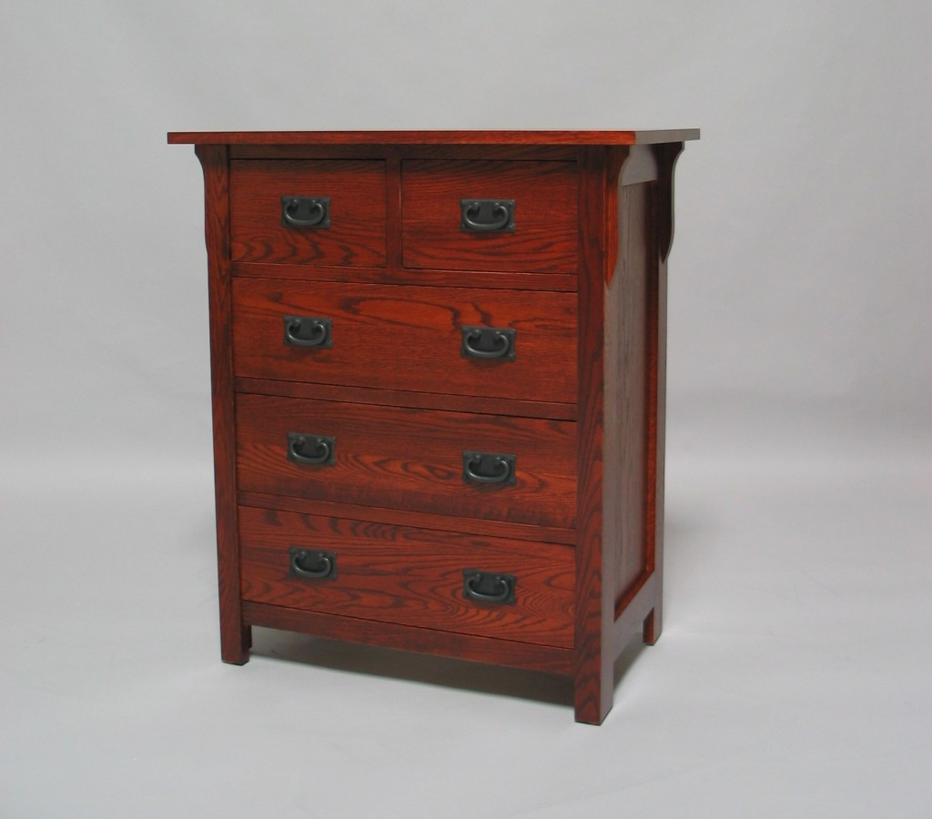 30204-S Oak Mission 4 Split Drawer Chest - Early American Stain
