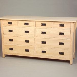 30210-SS Red Oak Mission 10 Drawer Shallow Split Drawer Top Row - Unfinished