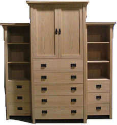 30225-24 Red Oak Mission 5 Drawer Armoire - Unfinished